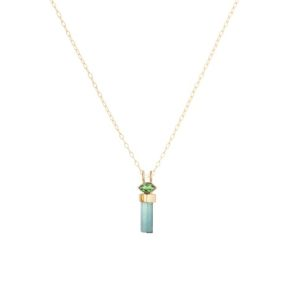 Celine Daoust_Protection and Believes Tourmaline pencil & marquise Chain Necklace_green